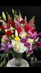 Red roses, hydrangeas & orchids bouquet