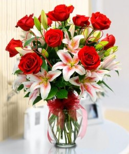 Red Roses And Stargazer Lilies
