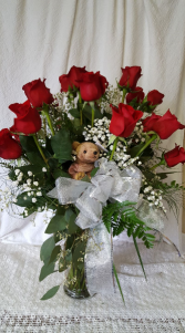 Red roses and teddy love dozen red roses with teddy bear