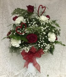 Red Roses and White Carnations  with Valentine's Day Trims