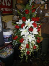 Red Roses and White Lilies Standing Spray