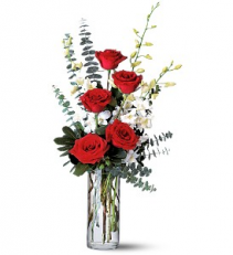 Red Roses And White Orchids floral arrangement