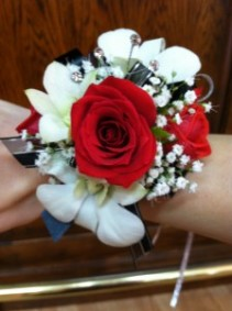 Red Roses and White Orchids Wristlet Corsage