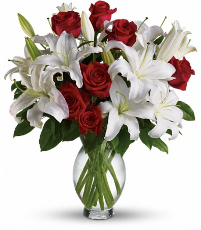 Red Roses and White Oriental Lillies