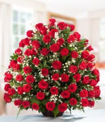 red roses basket funeral