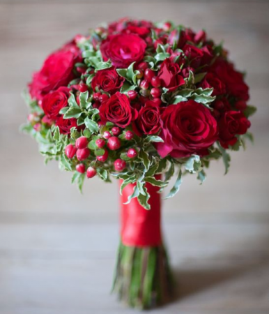 Red roses bouquet  Wedding