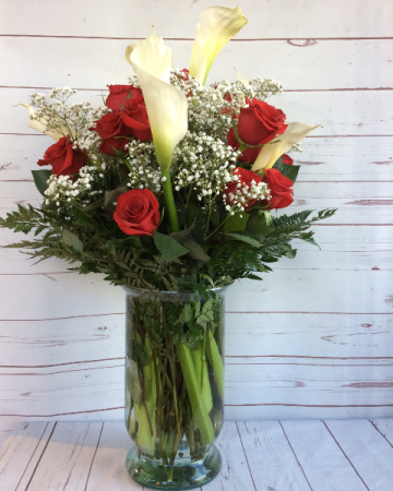 Red Roses & Calla Lilies