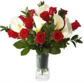 RED ROSES & CALLA LILY ARRANGEMENT