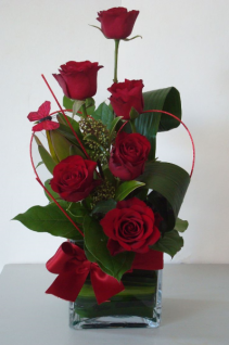 Red Roses Cubed Vase Arrangement