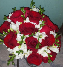 Red Roses & Freesia Bridal Bouquet