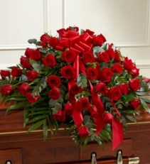 Red Roses Half Casket Cover