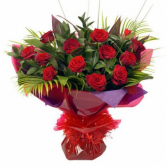RED ROSES  HAND TIED BOUQUET