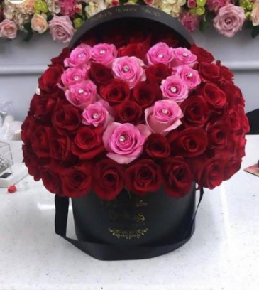RED ROSES PINK DIAMOND HEART