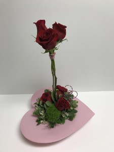 Red Roses Pink Heart Valentine's Flowers  Roses