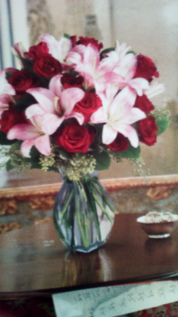 Red Roses pink lily T15_1a