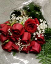 Red roses presentation style Wrapped bouquet