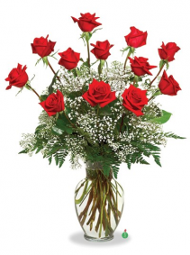 "Red Roses Say ""I Love You"" W/ Foliage and Gypsophila, 12, 18, 24 Roses"