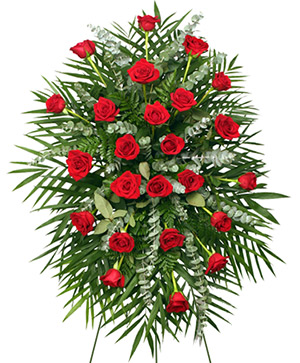 RED ROSES STANDING SPRAY of Funeral Flowers in Greenfield, IL | BEV'S BASKETS & BOWS