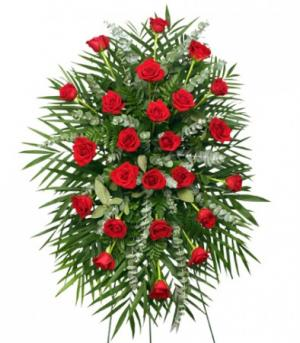RED ROSES STANDING SPRAY of Funeral Flowers in Rogersville, AL | SUGAR CREEK FLOWERS SOAPS CANDLES & GIFTS