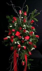 Red Roses Standing Sympathy Spray