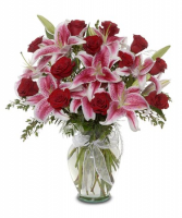 Red Roses & Star Gazers Exclusively at Mom & Pops