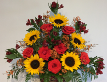 Red Roses & Sunflowers