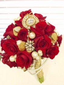 Red Roses that Sparkle with Love Bridal Bouquet