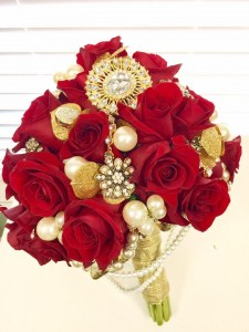 Red Roses that Sparkle with Love Bridal Bouquet in Sebastian, FL | PINK PELICAN FLORIST