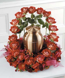 Red Roses Urn Cremation
