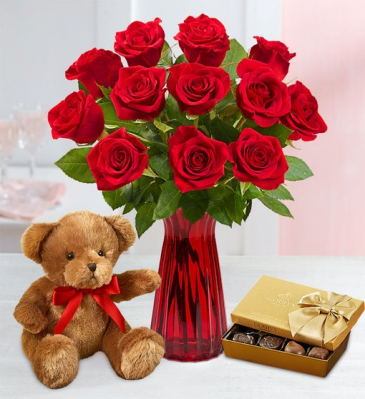Love and beyond bear, chocolate, and dozen of roses three choices of white pink and red