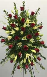 Red roses & white lily and orchids standing spray standing spray
