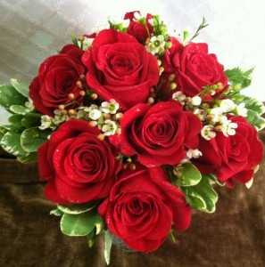 Red roses white waxflower bridal bouquet in tillamook or red roses white waxflower bridal bouquet mightylinksfo Choice Image