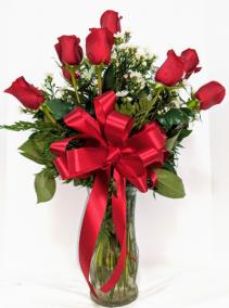 Red Roses & Wispy Whites Roses