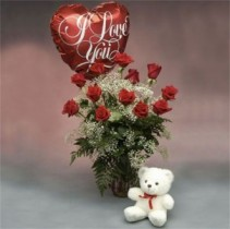Red Roses with a Bear and I Love You Balloon