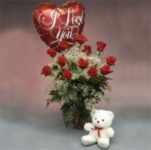 Red Roses with a Bear and I Love You Balloon  in Hesperia, CA | ACACIA'S COUNTRY FLORIST