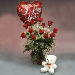 Red Roses With A Bear And I Love You Balloon Dz Roses Bear Mylar Balloon In Hesperia Ca Acacia S Country Florist