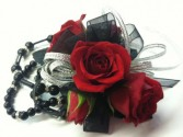 Red Roses with a Touch Of Black Wristlet