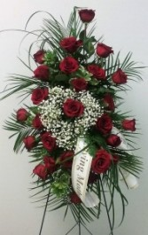 Red Roses with Babies Breath Heart