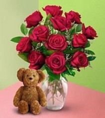 Red Roses with Bear roses