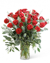 Red Roses with Eucalyptus Foliage (24) Flower Arrangement