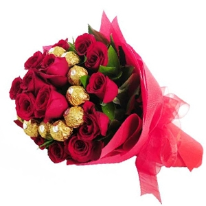 Red Roses with Ferrero Rocher **ORDER NOW **