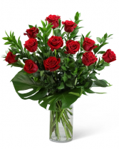 Red Roses with Modern Foliage (12) Flower Arrangement