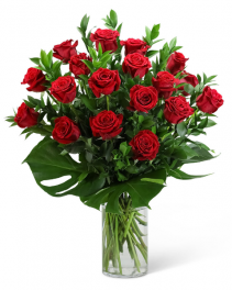 Red Roses with Modern Foliage (18) Flower Arrangement