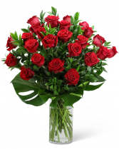 Red Roses with Modern Foliage (24) Flower Arrangement
