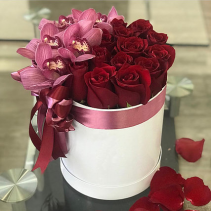 Red roses with orchids  Keep sake gift Box