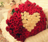 RED ROSES WITH WHITE HEART
