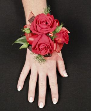 PUTTING ON THE RITZ RED Prom Corsage in Oakville, ON | ANN'S FLOWER BOUTIQUE-Wedding & Event Florist