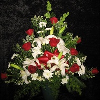 Red Rose/White Lily Sympathy Basket