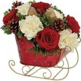 Red Sleigh  Christmas Arrangment