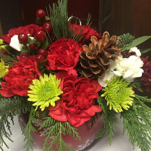 Red Snowflake ornament Fresh flowers and evergreen in Mckees Rocks, PA | THE BLOOMIN BAR BY MUETZEL'S FLORIST